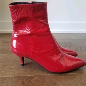 Shoes - Red vinyl leather booties NEW